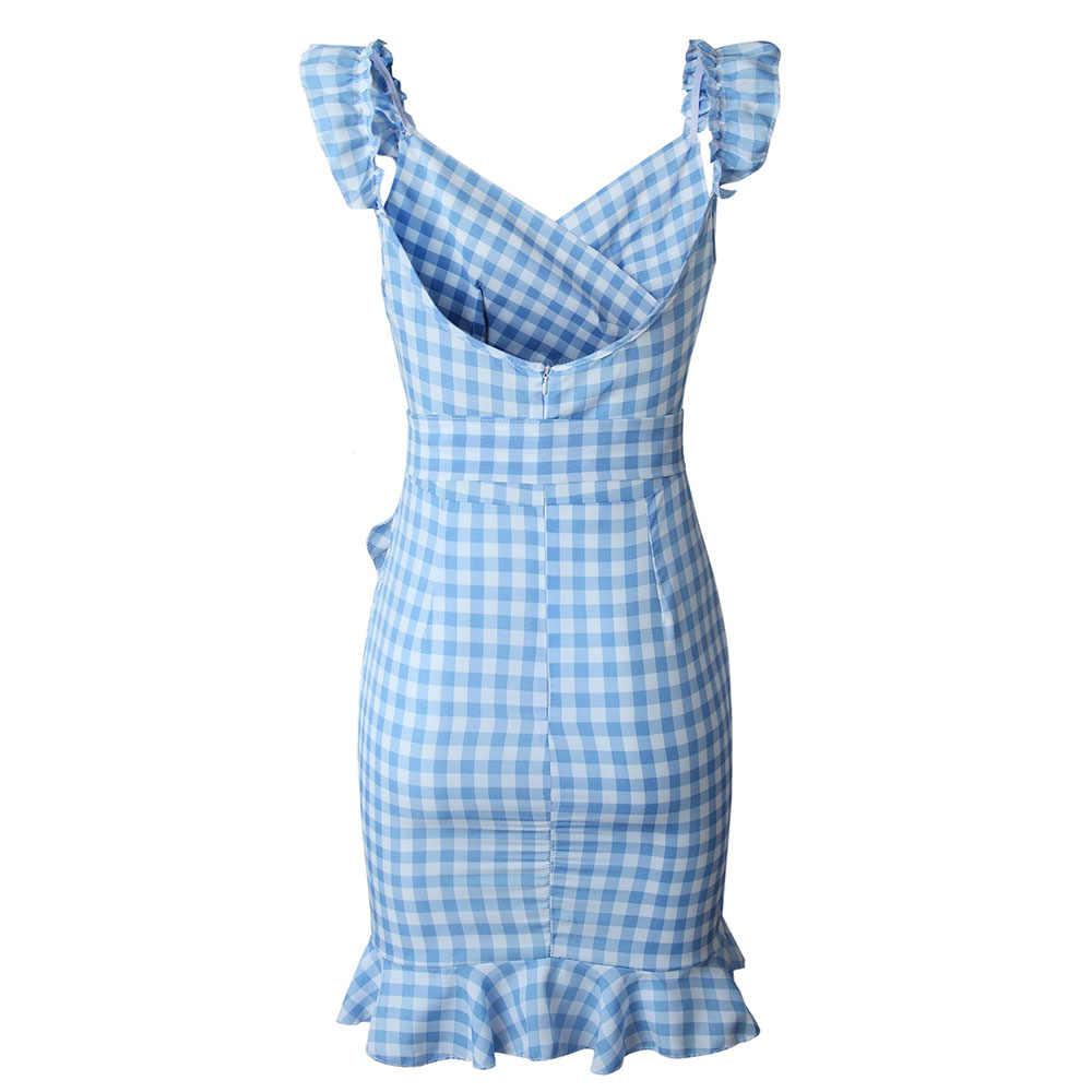 Летние винтажные женские платья с рюшами в стиле бохо, повседневные Элегантные, сексуальные, Клубные, пляжные, милые, с открытой спиной, вечерние, в клетку, в стиле ретро, плиссированное платье