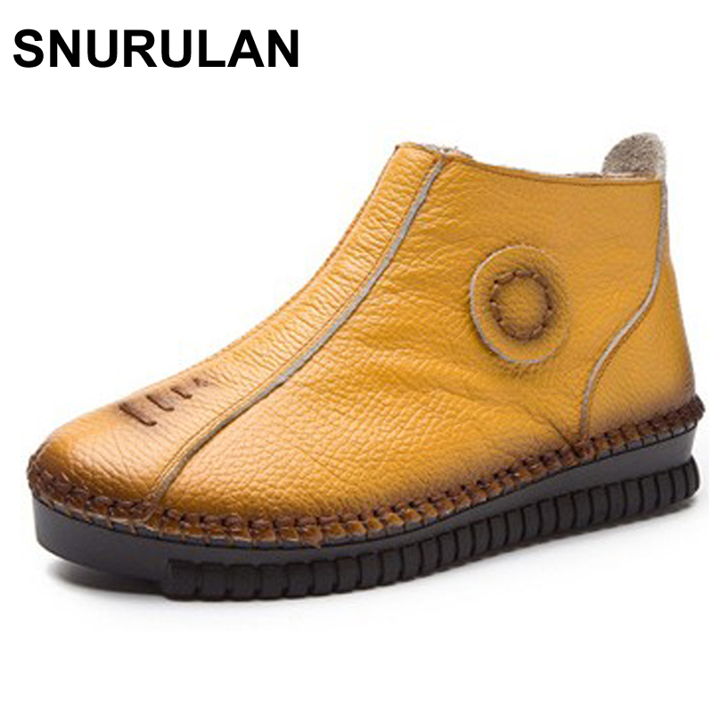 SNURULAN Vintage Style Genuine Leather Women Boots Flat Booties Soft Cowhide Women's Shoes Zip Ankle Boots Warm Winter Shoes maylosa 2017 vintage style genuine leather women boots flat booties soft cowhide women s shoes zip ankle boots warm winter shoe