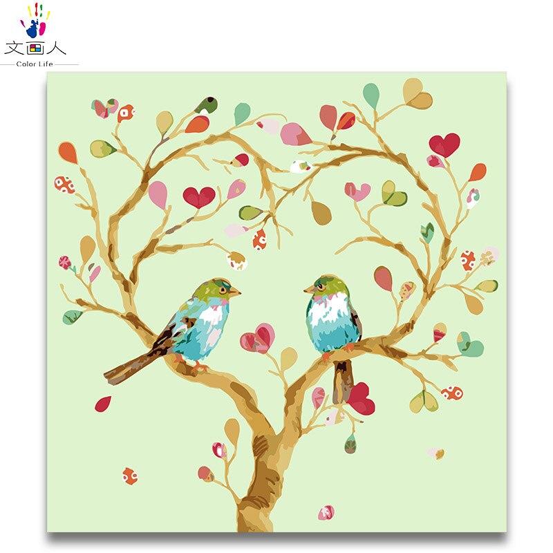 Lukisan Digital Mewarnai Dengan Angka Burung Dan Pohon Cat Dengan