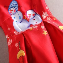 New Arrival Snowman Cartoon Print High Waist Red Vest Dress Christmas New Year Party Wear