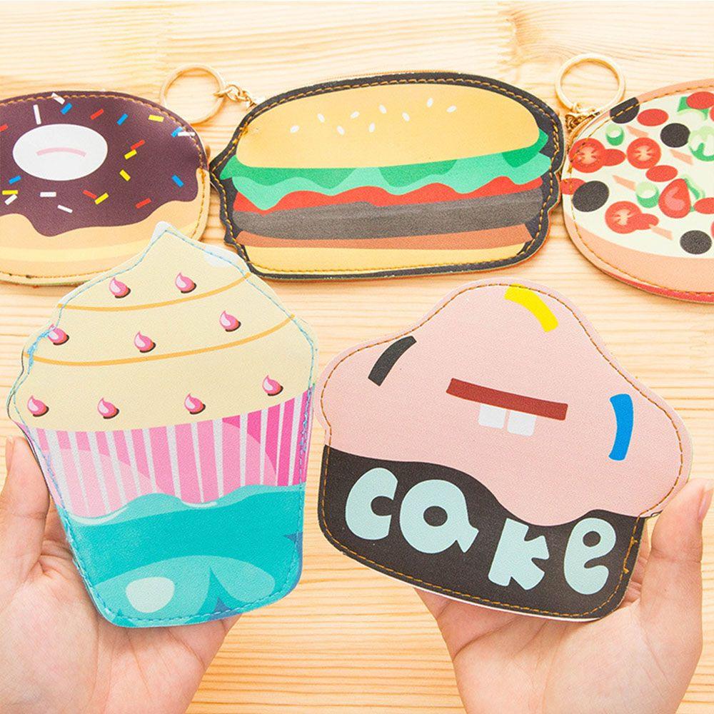 Kawaii Food Style Women Coin Purse Change Bag Cake/ Hamburger/ Pizza/Donuts/Popcorn Pouch Cartoon Women Clutch Small Wallet