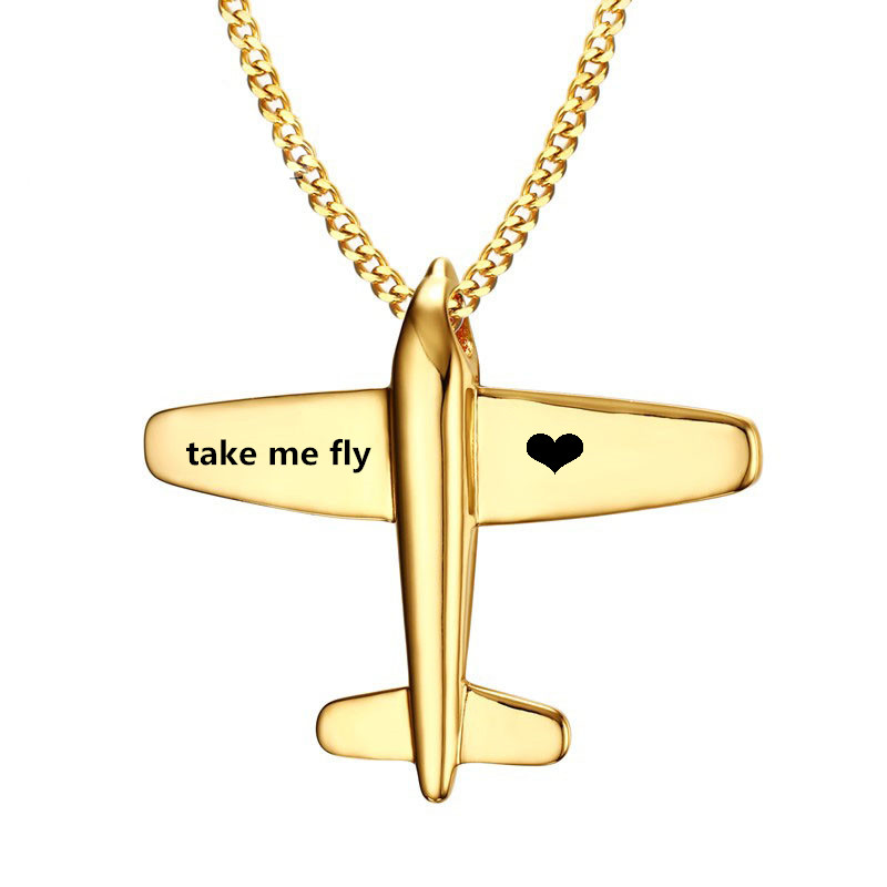 Gold Stainless Steel Aircraft Pendant Necklace,Unique Custom Name Plane Necklace Pendant For Men Women Jewelry,Free Engraving