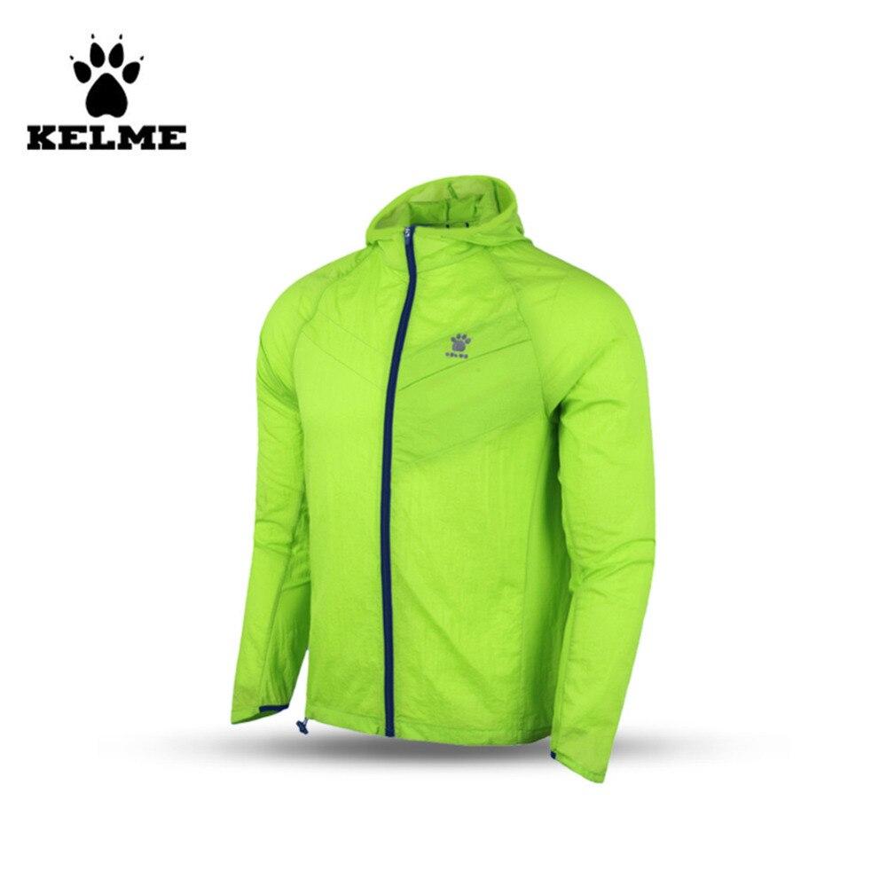 Кельме мужчин с капюшоном обучение сплетенные ветром плащи куртки K15F631 Флуресцентный зеленый