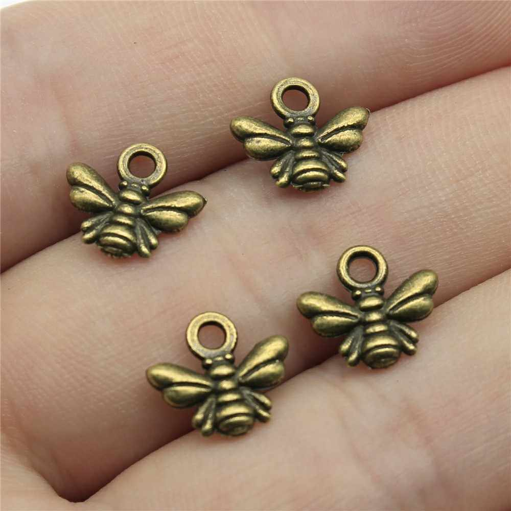 200pcs Antique Bronze Tone 0.4x0.4 inch (10x11mm) Bee Charms Pendant For Jewelry Making Diy Jewelry Findings