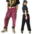 Взрослых детей мода широкий свободного покроя шаровары уличный танец эластичный пояс брюки яркий цвет панк брюки полосатый штаны