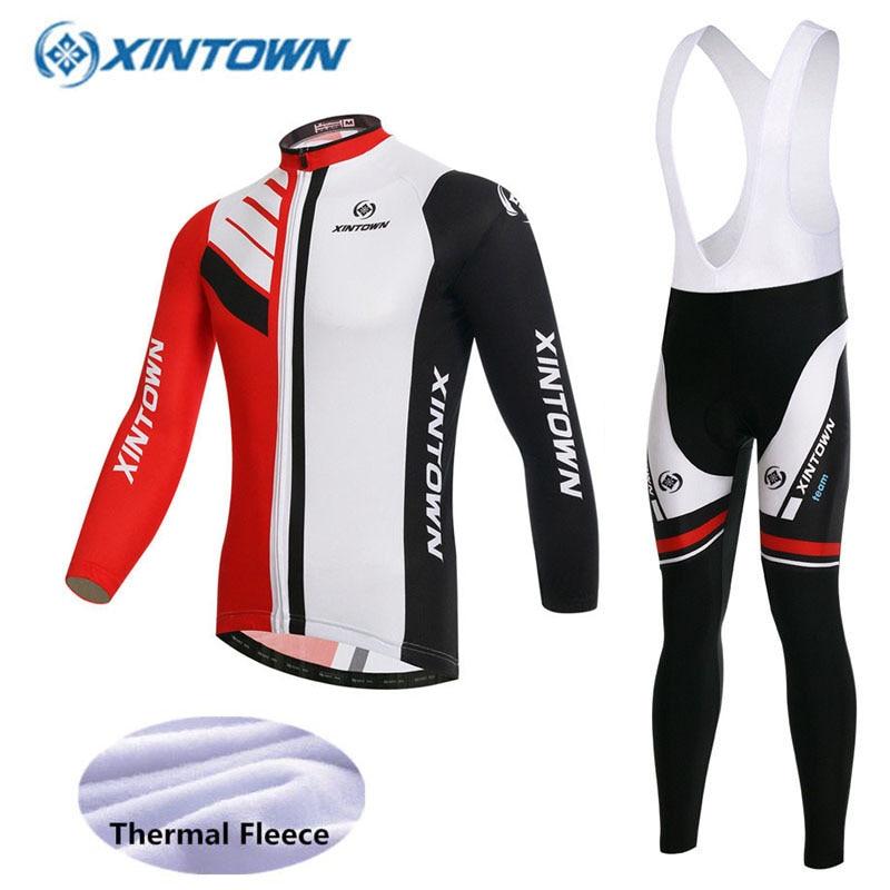 2018 Winter Cycling Jerseys GEL Pad Breathable Thermal Fleece Jerseys And Bib Pants Sets MTB Bike 7 Colors Bicycle Clothing цена