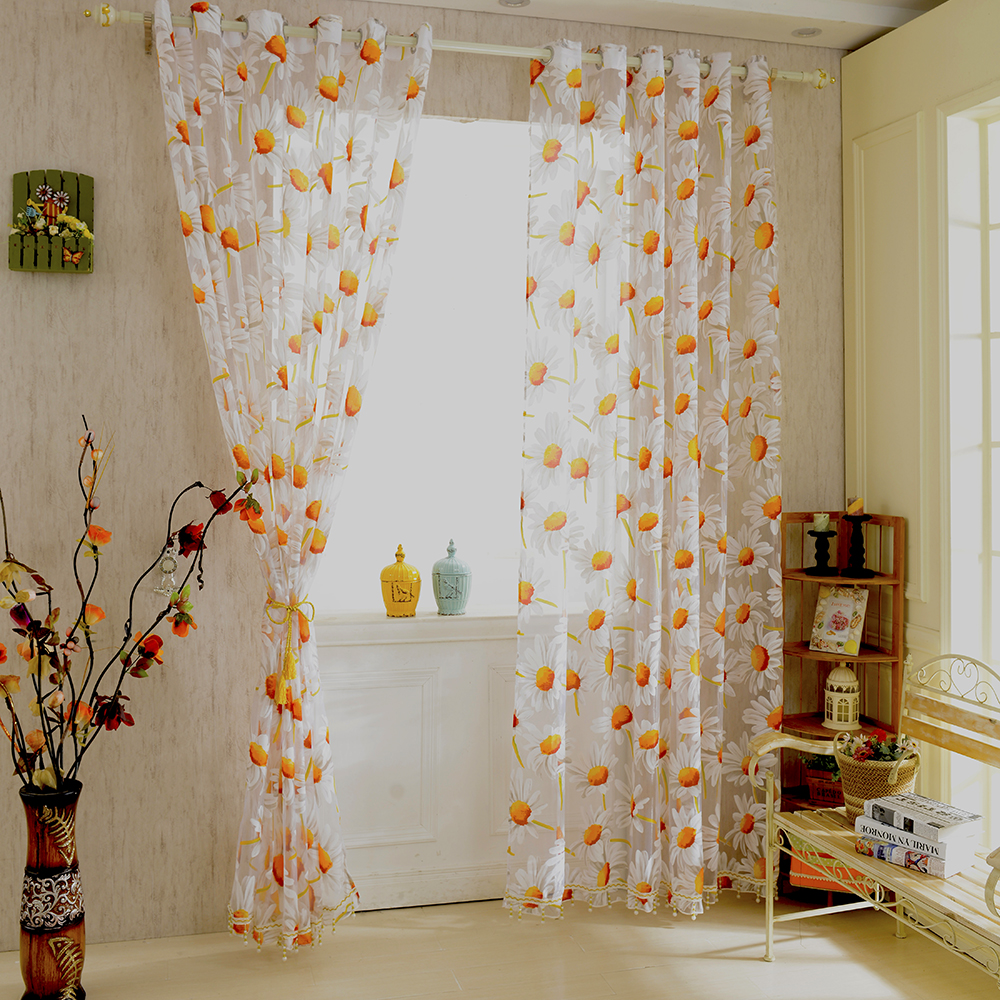 New White Orange 125M Sunflower Voile Window Panel Sheer Tulle Drapes Decorative Curtains