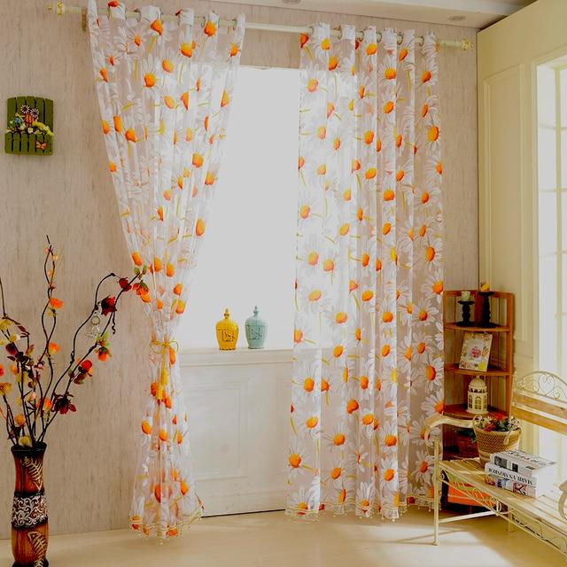 New White Orange 1 2 5m Sunflower Voile Window Panel Sheer