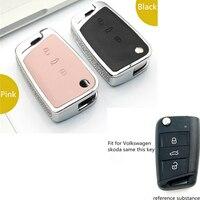 Luxury Diamond Car Key Shell Holder Remote Key Case Cover For Volkswagen VW Golf 7 Mk7