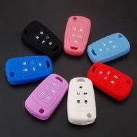 BBQ@FUKA 7pcs Car accessories For chevrolet Cruze 5 Bottons Silicone Car Key Cover Holder Fob Case Flip Keyfob Mixed Color