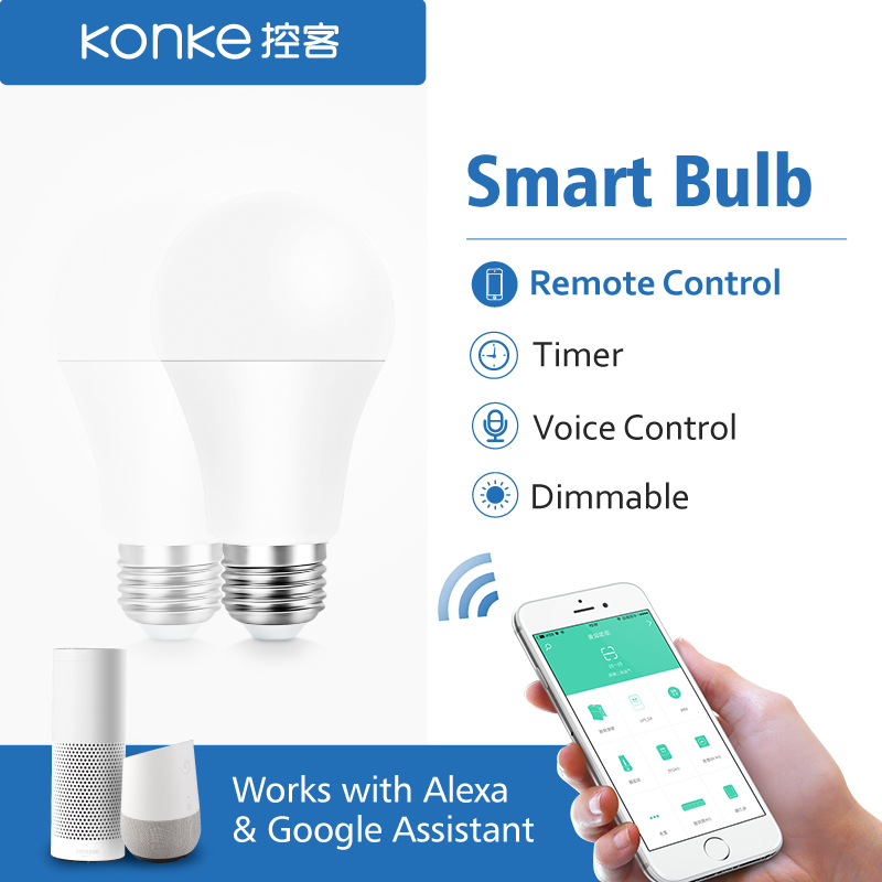 Smart Wifi Lamp E27 Timing Dimmable LED Light Bulbs Remote Control EU Standard Works with Alexa and Google Assistant-in Home Automation Modules from Consumer Electronics