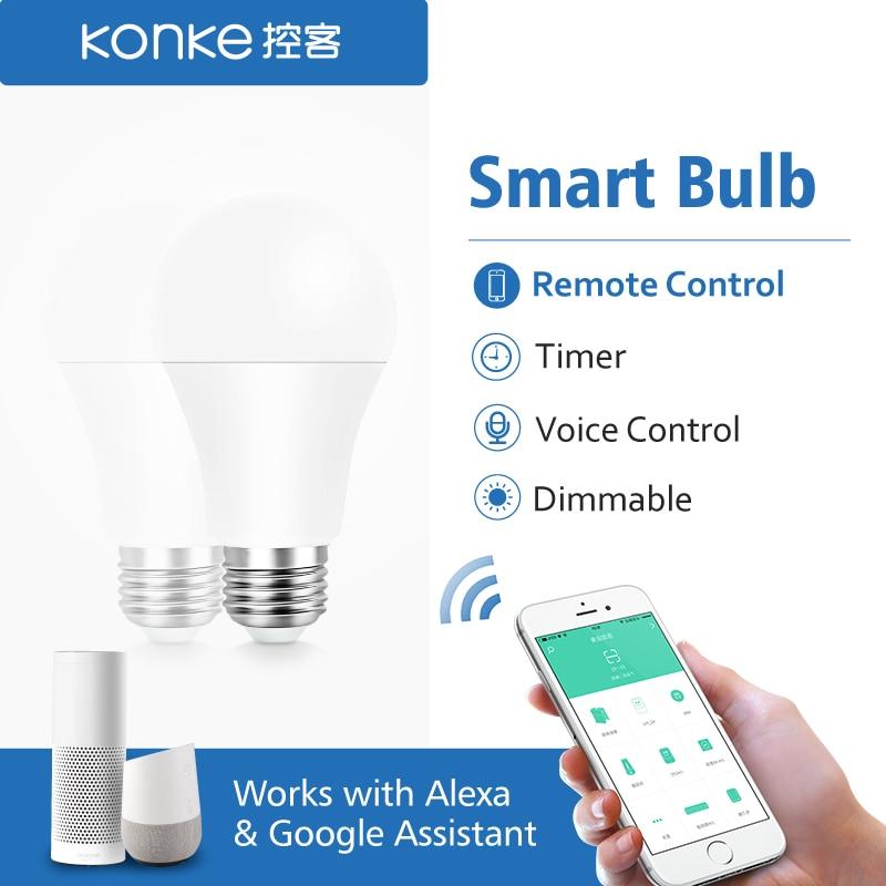 Интеллектуальная WiFi лампа E27 сроки затемнения светодиодный свет лампы дистанционного Управление ЕС Стандартный работает с Amazon Alexa и Google Assistant-in Автоматические модули для дома from Бытовая электроника