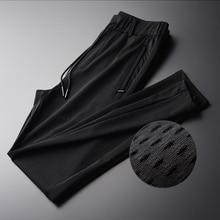 Minglu Hollow Out Fabric Silky Breathable Men Pants New Summer Thin Silm Black Comfortable Men Pants Plus Size M XL 2XL 3XL 4XL