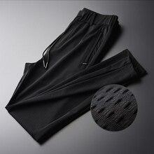 Minglu חלול החוצה בד משיי לנשימה גברים מכנסיים חדש קיץ דק Silm שחור נוח גברים מכנסיים בתוספת גודל M XL 2XL 3XL 4XL