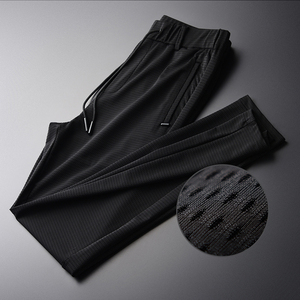 Image 1 - Pantalones de hombre transpirables de tela ahuecada de linglu nuevo verano Delgado negro cómodo pantalones de hombre de talla grande M XL 2XL 3XL 4XL