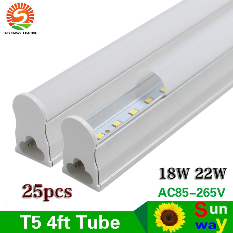 <font><b>T5</b></font> Integrated <font><b>LED</b></font> Tube Light 4ft 120cm 1.2m <font><b>LED</b></font> Light Tubes <font><b>18W</b></font> 22W Frosted Cover Linkable bulb cabinet lighting AC85-265V 25pcs image