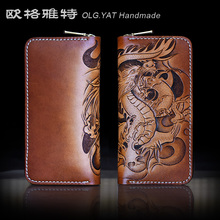 HK OLG.YAT men wallets handmade wallet womens handbag Dragon Art Purse genuine leather Hand-carved wallet retro bags