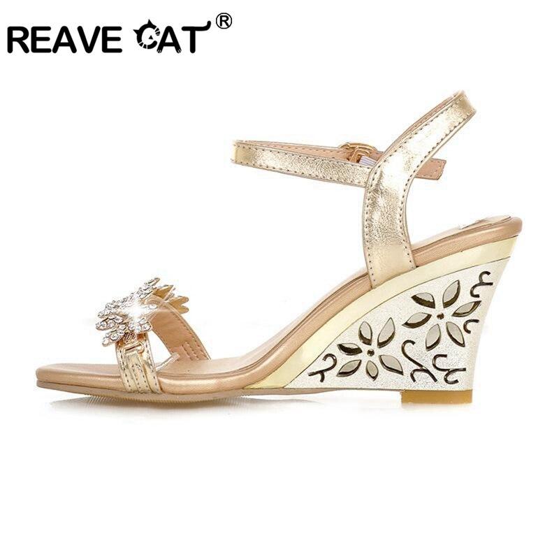 133d55a6090e7 ... Fretwork Heels Wedges sandals Rhinestone Silver Gold Summer sandals Sexy  Sale QL4277. שמור מוצר. הגדל תמונה במעבר עכבר הקש פעמיים להגדלה. Gold. Gold