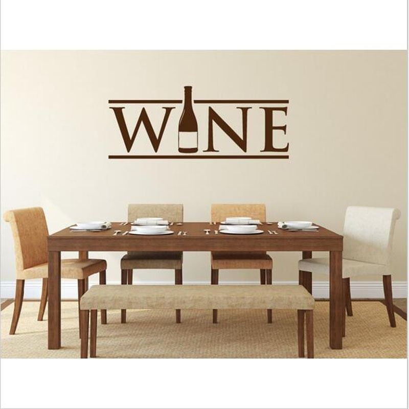 Wine Bottle Wall Stickers For Kitchen Wall Poster Restaurant Dining Room Wallpaper Wall Murals Home Decals Vinyl Decor H99