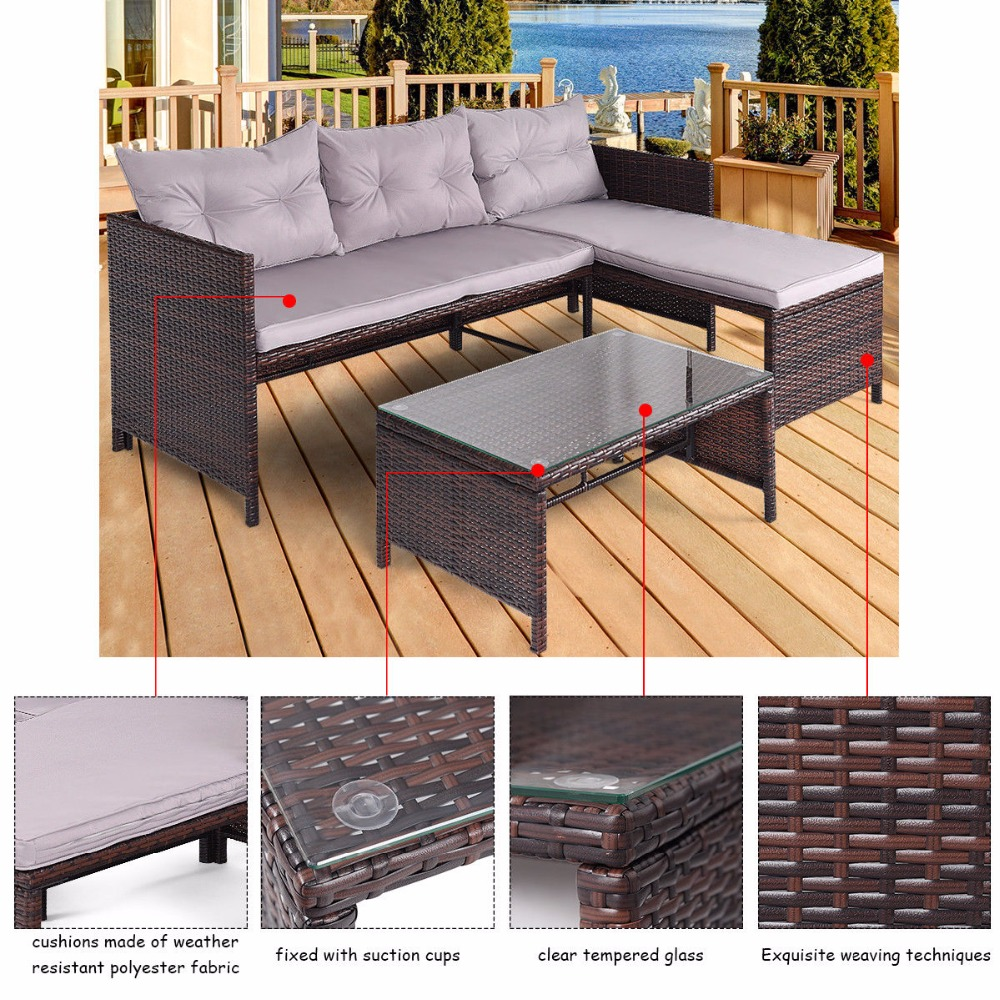 Giantex 3 PCS Outdoor Rattan Furniture Sofa Set Lounge Chaise Sofa ans Coffee Table Cushioned Patio Garden Furniture HW58535 5