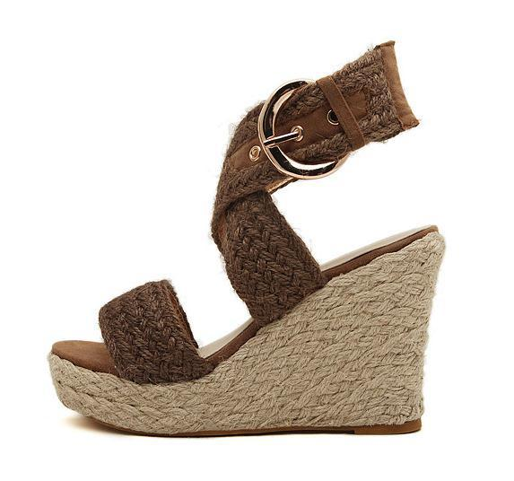 8dad9c23d19f73 2015 Bohemia Summer Jute Cute High Heels Sandals For Women Cross tied  Wedges Shoes Sandals European Style -in Women s Sandals from Shoes on  Aliexpress.com ...