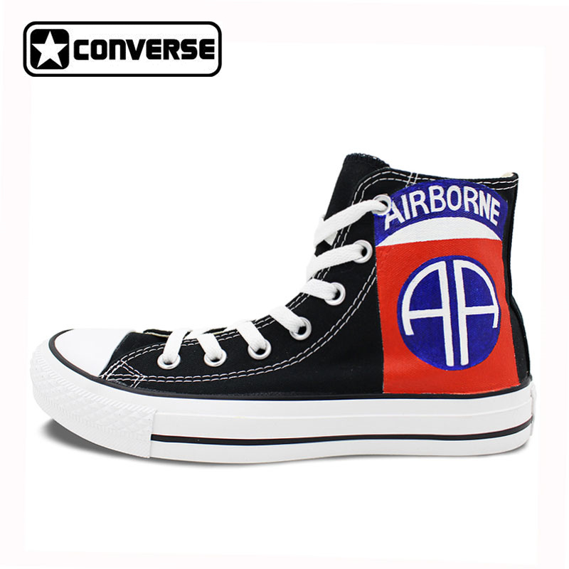 Black Athletic Sneakers Shoe Men Women Canvas Shoes Hand Painted Logo of 82nd Airborne D ...