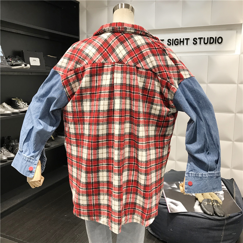 Vintage Woolen Plaid Stitching Jeans Long Sleeve Shirts  4