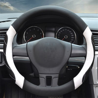1pc Microfiber Leather Black White Line Non slip Breathable Car Steering Wheel Covers Diameter 38 Cm