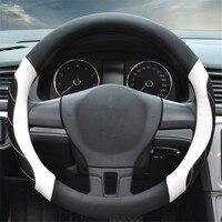 1pc Microfiber Leather Black White Line Non slip Breathable Car Steering Wheel Covers Diameter 38 Cm