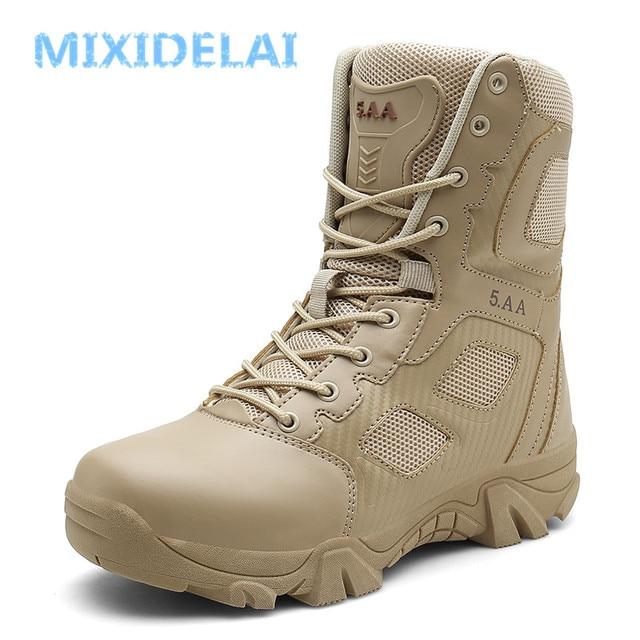 MIXIDELAI Size 39-47 Sa Mạc Chiến Thuật Nam Giày chịu mài mòn Quân Giày Nam Chống Nước Ngoài Trời Đi Bộ Đường Dài Nam Chiến Đấu mắt cá chân Giày