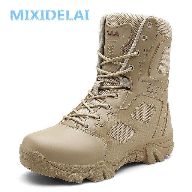 MIXIDELAI Size 39-47 Woestijn Tactische Heren Laarzen slijtvaste Leger Laarzen Mannen Waterdichte Outdoor Wandelen Mannen Combat enkellaarsjes