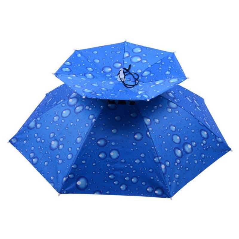 Guarda-chuva De Pesca Chapéu ao ar livre Grande Camada Dupla Tampa Dobrável Compacto Anti-UV Chuva Pára Mãos Livres Headwear