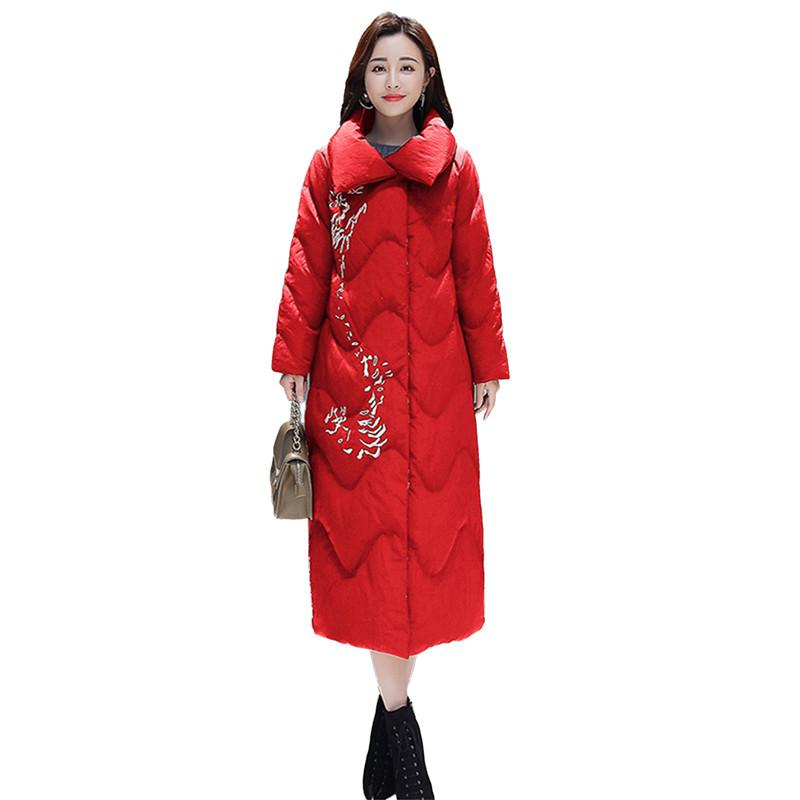 Women Winter Chinese National Style Parka Cotton Coat Female Embroidery Vintage Long Casual Jacket Ladies Thicken Warm Coat V354