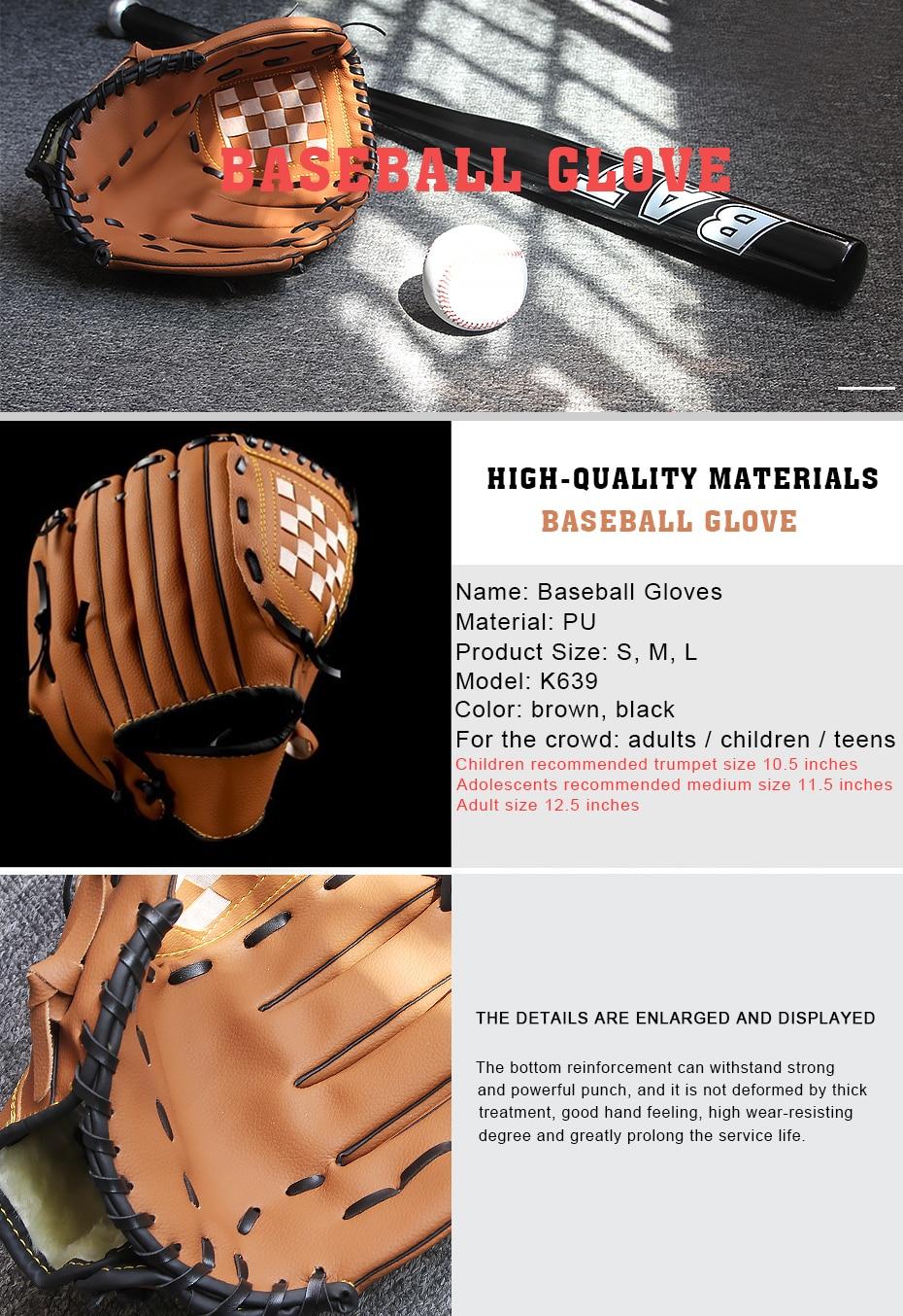 Béisbol Guantes portátil nueva Brown oscuro durable hombres softbol ...