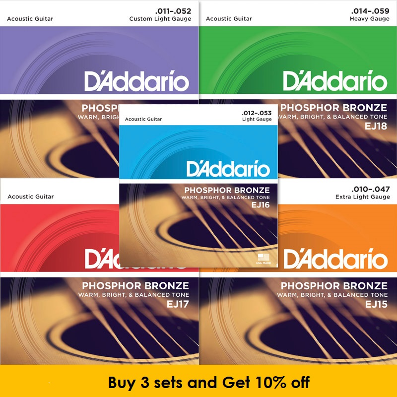 D'addario Phosphor Bronze Wound Acoustic Guitar Strings EJ15 EJ16 EJ17 EJ26