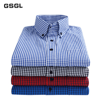 100% Cutton Button down Men Shirts with Chest Pocket Casual Slim Fit Long Sleeve Gingham Plaid Checked Shirt