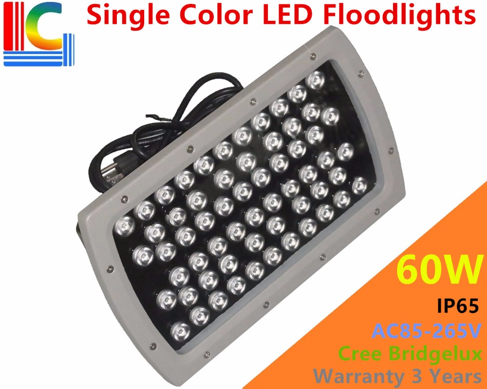 High qulity 60W LED Floodlights IP65 Waterproof outdoor Landscape Lighting CREE Bridgelux LEDs Glod Yellow Red Green Blue White