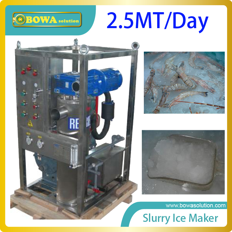 2.5MT per day quality slurry ice maker machine for fishery replace flake ice maker