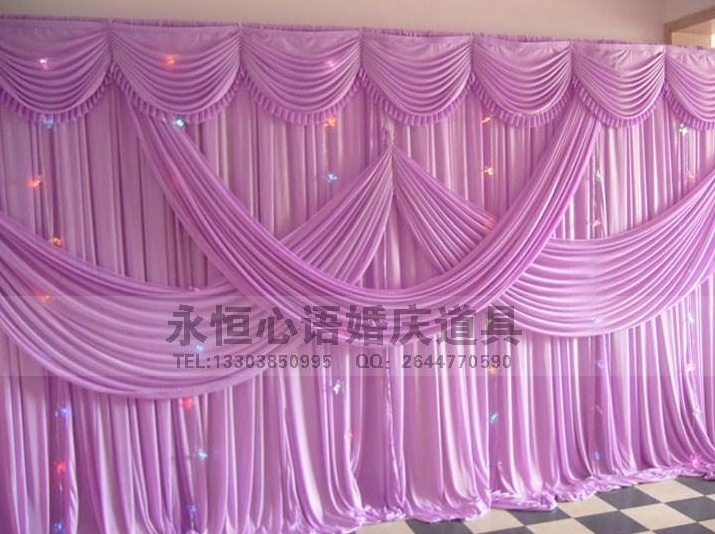 Hotsale wedding backdrop curtain with swag backdrop wedding decoration romantic Ice silk stage curtains wholesale various