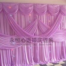 Горячая свадебный фон занавеска с swag декорации, свадебное украшение романтические шелковые занавески для сцены различных цветов