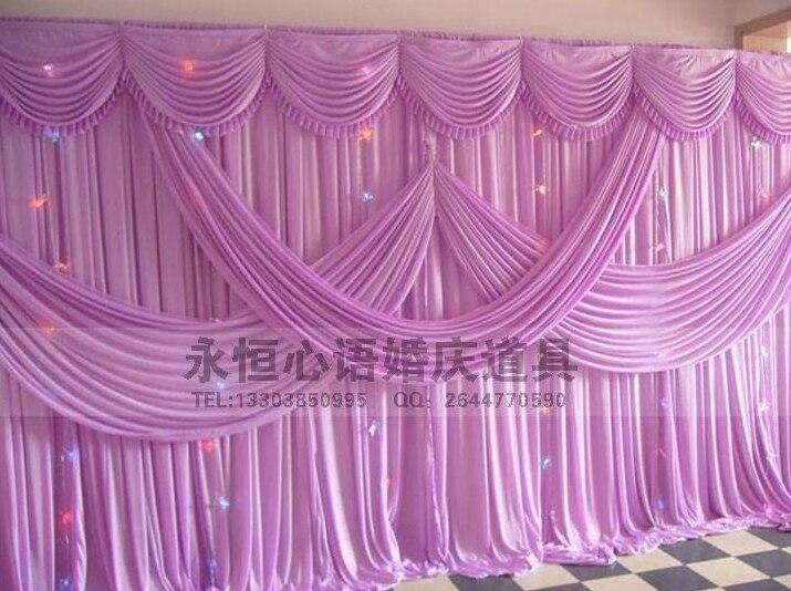 Hotsale cortina contexto do casamento com ganhos cortinas de palco pano de fundo decoração de casamento romântico seda Gelo atacado várias cores