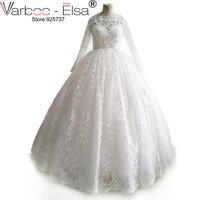 Sexy Illusion cou blanc robe de mariée manches une ligne appliques dentelle à manches longues robe de mariage musulman robe de noiva vintage