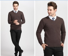 Newest arrival winter casual men solid color 100% wool v-neck knit thicken sweater