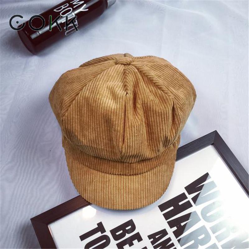 COKK Newsboy Cap For Women Men Unisex Vintage British Solid Striped Beret Painter Hats For Female Male Octagonal Cap Gorras Bone