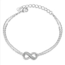 Everoyal Trendy Women Silver 925 Bracelets For Lady Accessories Fashion Zircon Geometric Bracelet Female Jewelry