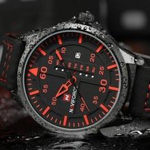 2017 NAVIFORCE Brand Fashion Men s Casual Sport Watches Men Waterproof Leather Quartz Watch Man military