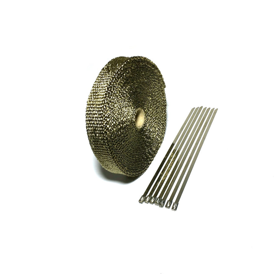15m / 50ft x 1 tommer Lava Fiber Termisk Eksos Tape Avgasspakning Varmebestandig Wrap Titanium Exhaust Heat Wrap With Clamps