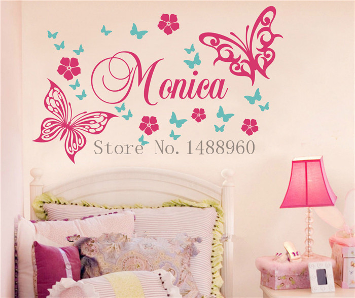 E93 Butterfly Kelebek Vines Flowers Custom Name Wall Stickers Decal Girls  Kids Room Wall Personalized Name