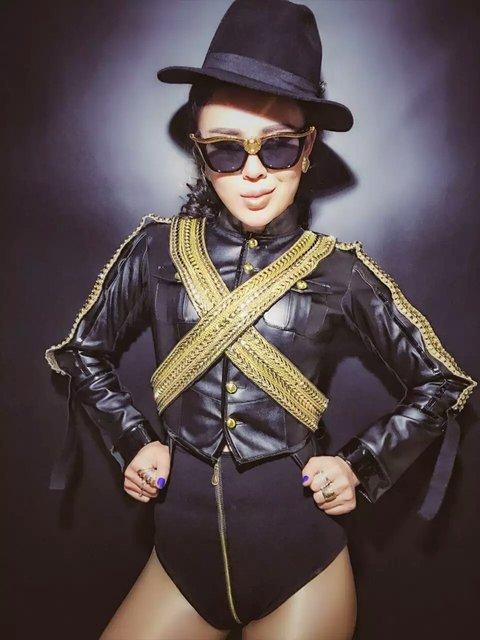 f8e170b510 Lady Punk Style Pu Leather Jacket Short Style Super Star Stage Wear Coat  Costume Fashion Dj Ds Female Singer Costumes Clothing-in Chinese Folk Dance  ...
