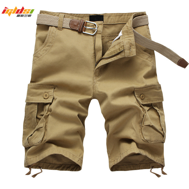 New 2018 Summer Men's Baggy Multi Pocket Military Zipper Cargo Shorts Breeches Male Long Army Green Khaki Mens Tactical Shorts